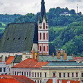 One Of The Churches In Cesky Kumlov In The Czech Republic by Richard Rosenshein