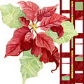 One Perfect Poinsettia Flower W Modern Stripes by Audrey Jeanne Roberts