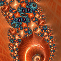 Orange And Aqua Fractal Spiral by Matthias Hauser