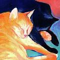 Orange And Black Tabby Cats Sleeping by Svetlana Novikova