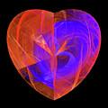 Orange And Blue Fractal Heart by Matthias Hauser