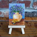 Orange And Purple Miniature With Easel by Susan Dehlinger
