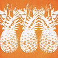 Orange and White Pineapples- Art by Linda Woods by Linda Woods