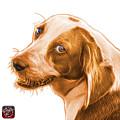 Orange Beagle Dog Art- 6896 -wb by James Ahn