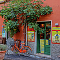 Orange Bicycle Wine Shop Monterosso Italy Dsc02584 Square by Greg Kluempers