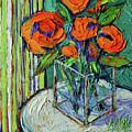 Orange Bloom - Textured Impressionist Palette Knife Oil Painting Mona Edulesco by Mona Edulesco