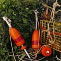 Orange Buoys, Nautical, Marblehead, Ma by Jane Maurer
