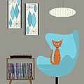 Orange Cat In Turquoise Egg Chair by Donna Mibus