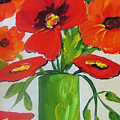 Orange Flowers In Lime Green Vase by Carrie Allbritton