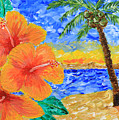 Orange Hibiscus Coconut Tree Sunrise Tropical Beach Painting by Beverly Claire Kaiya
