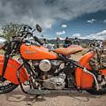 Orange Indian Motorcycle by Britt Runyon