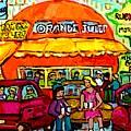 Orange Julep Fast Food Restaurant Decarie Skyline Canadian Painting For Sale Carole Spandau          by Carole Spandau