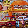 Orange Julep On Decarie Bill Wong Ruby Foo's Colorful City Scene Original Painting Montreal Memories by Carole Spandau