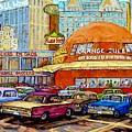 Orange Julep Painting Decarie Blvd Skyline Ruby Foo's Bill Wong's Montreal Memories 60's Cars  by Carole Spandau