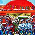 Orange Julep Drive In Montreal Winter City Scene Painting Hockey Art Canadian Artist Carole Spandau  by Carole Spandau