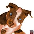 Orange Pitbull Dog Art 7435 - Wb by James Ahn