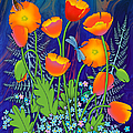 Orange Poppies And Forget Me Nots by Teresa Ascone