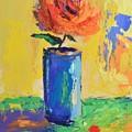Orange Rose With Yellow Background by Philip Jones