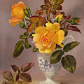 Orange Roses In A Blue And White Jug by Albert Williams