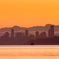 Seattle Skyline In Orange by E Faithe Lester