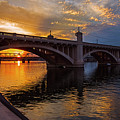 Orange Sunset Over Tempe Town Lake by Dave Dilli