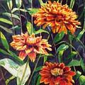 Orange Zinnias by LeAnne Sowa