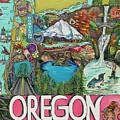 Oregon Map by Patti Schermerhorn