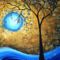 Orginal Abstract Landscape Painting Blue Fire By Madart by Megan Duncanson