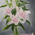 Oriental Lilies In White And Pink by A T