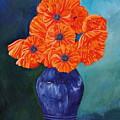 Oriental Poppies In Blue by PJ Wetak