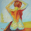 Original Abstract Oil Painting Female Nude Girl On Canvas#16-2-5-06 by Hongtao     Huang