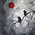 Original Abstract Surreal Raven Red Blood Moon Painting The Overseers By Madart by Megan Duncanson