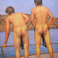 Original Oil Painting Art Male Nude Gay Interest Boy Man On Linen#16-2-5-12 by Hongtao     Huang
