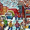 Original Artwork For Sale Wilensky Diner Hockey Game Montreal Winter City Scene C Spandau Painting by Carole Spandau