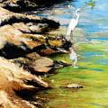 Original Fine Art Painting Pool Edge Gulf Coast Florida by G Linsenmayer