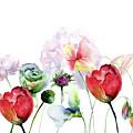 Original Floral Background With Flowers by Regina Jershova