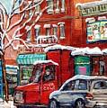 Original Montreal Winter Streetscene Paintings For Sale Fairmount Bagel To Wilensky C Spandau Artist by Carole Spandau
