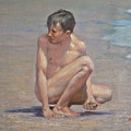 Original Oil Painting Art Male Nude Gay Boy On Linen#16-2-5-09 by Hongtao     Huang