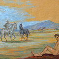Original Oil Painting Art Male Nude With Horses On Canvas #16-2-5 by Hongtao     Huang
