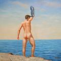 Original  Oil Painting Gay Art Male Nude By Body On Canvas#16-2-5-011 by Hongtao     Huang