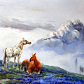 Original Oil Painting On Canvas Two Horses by Chunliang Hu