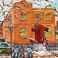 Bagg And Clark Synagogue Painting For Sale Montreal Hockey Kids Winter City Scene Artwork C Spandau by Carole Spandau