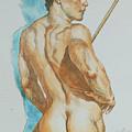 Original Watercolor Painting Art Male Nude Men On Paper #12-25-02 by Hongtao Huang