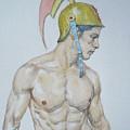 Original Watercolor Painting Male Nude Man #17511 by Hongtao Huang