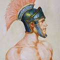 Original Watercolour Painting Art Male Nude Portrait Of General  On Paper #16-3-4-19 by Hongtao Huang