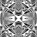 Ornamental Intersection - Abstract Black And White Graphic Drawing by Nenad Cerovic