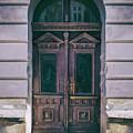 Ornamented Wooden Gate In Violet Tones by Jaroslaw Blaminsky