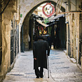 Orthodox Jewish Man Walking In Jewish Quarter Of Jerusalem by Alexandre Rotenberg