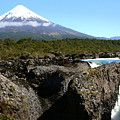 Osorno Volcano From Petrohue Falls by Laurel Talabere