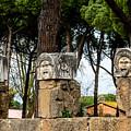 Ostia Antica - Theatre Marble Masks by Debra Martz